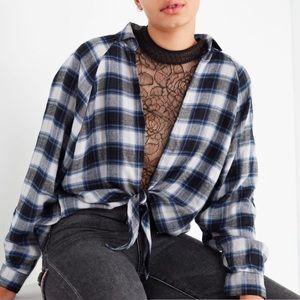 UO BDG Blue Plaid Knot Front Big Sleeve Flannel